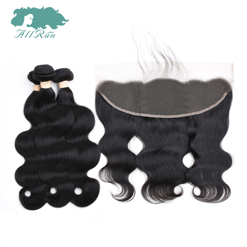 Allrun Human Hair Brazilian Body Wave Closure Lace Frontal 3 Bundles With Closure Natural Black Non Remy Hair Extension