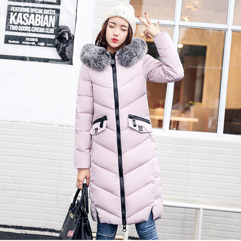 Slim Warm Down cotton long   parkas   Winter jacket Women Snow wear fashion thicken   parkas   female 2018 new warm coat overcoat