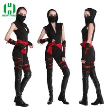 Halloween Sexy Ladies Female Ninja Costume Cosplay Fancy Dress For Carnival Top+Pants+Belt+Riband+Mask Ninja Halloween Costumes(China)