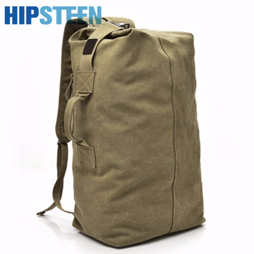 HIPSTEEN Canvas Mens Travel Backpack Bags Large Capacity Portable Folding Male Travel Backpacks Tote Duffel Storage Bag L Size
