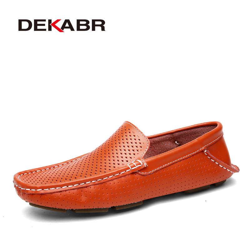 DEKABR 2018 Men Loafers Breathable Genuine Leather Driving Men Shoes Summer Autumn Quality Casual Shoes Men Sapatos Masculinos