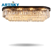 American Style Luxury Crystal Ceiling Lamps Lighting Modern Simple Restaurant Lights Living Room Lamps Villa Retro