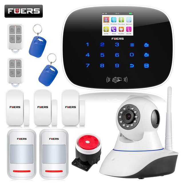 Wireless  G19 GSM SMS RFID Home House Burglar Alarm System Security BlackWIFI APP HD camera