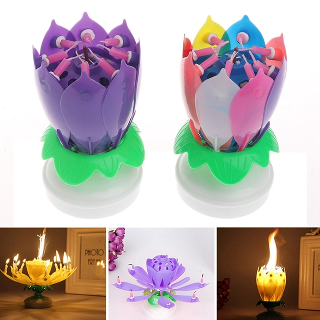 Blossom Lotus Flower Candles Romantic Cake Topper Musical Candle Lights Rotating Party Birthday Decor Decoration