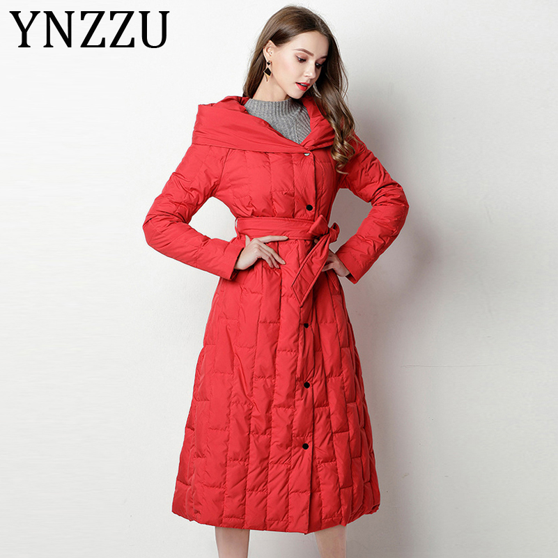 YNZZU Elegant New Winter Women's   Down   Jacket Long 90% White Duck   Down     Coat   Woman Hooded Warm Outwear with Sashes AO795