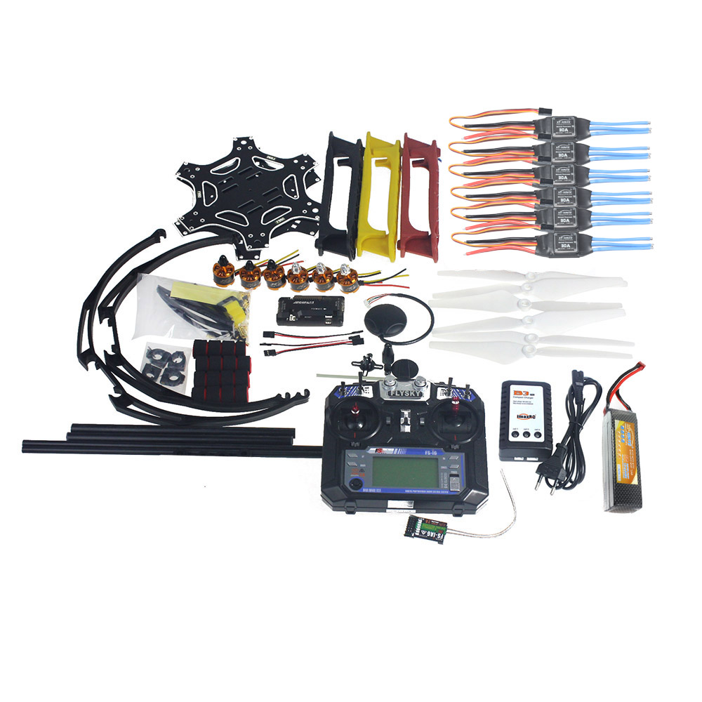 Kit completo RC Drone MultiCopter 6 eje aviones F550 Hexa-Rotor aire marco GPS APM2.8 Control de vuelo flysky FS-i6 F05114-AW