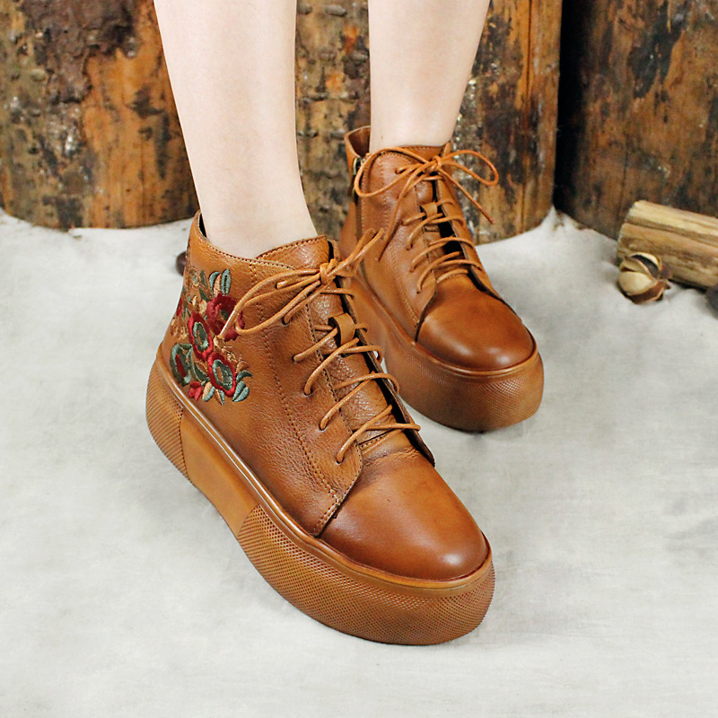 Autumn Winter 2019 Women Shoes High Heels Platfrom Boots Embroidered Muffin Knight Boot Wedges Ankle Boots For WomenAutumn Winter 2019 Women Shoes High Heels Platfrom Boots Embroidered Muffin Knight Boot Wedges Ankle Boots For Women