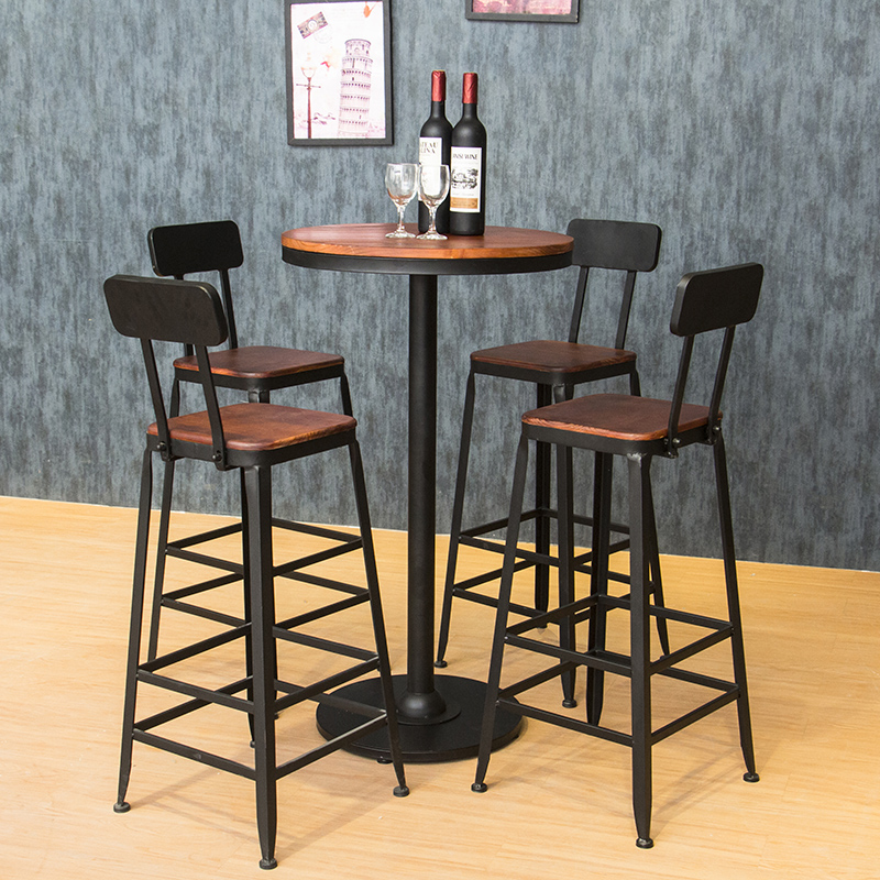Star retro high chair bar stool chairs leisure wood small