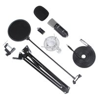 LESHP Black Durable Professional Flat Head Condenser Broadcasting Recording Microphone With 35 Bracket set & USB Sound Card