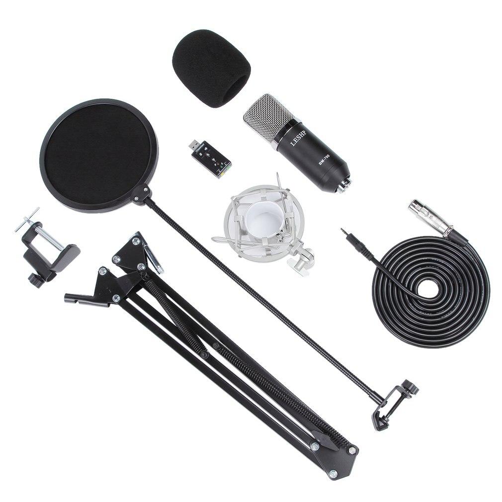 LESHP noir Durable professionnel tête plate condensateur radiodiffusion enregistrement Microphone avec 35 kit de support et carte son USB
