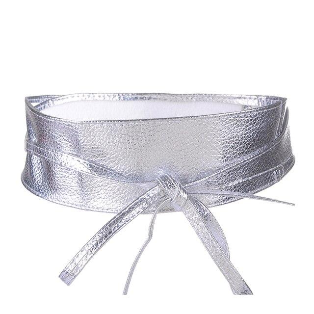 Fashion Metallic Color Soft Faux Leather Wide Belt 5