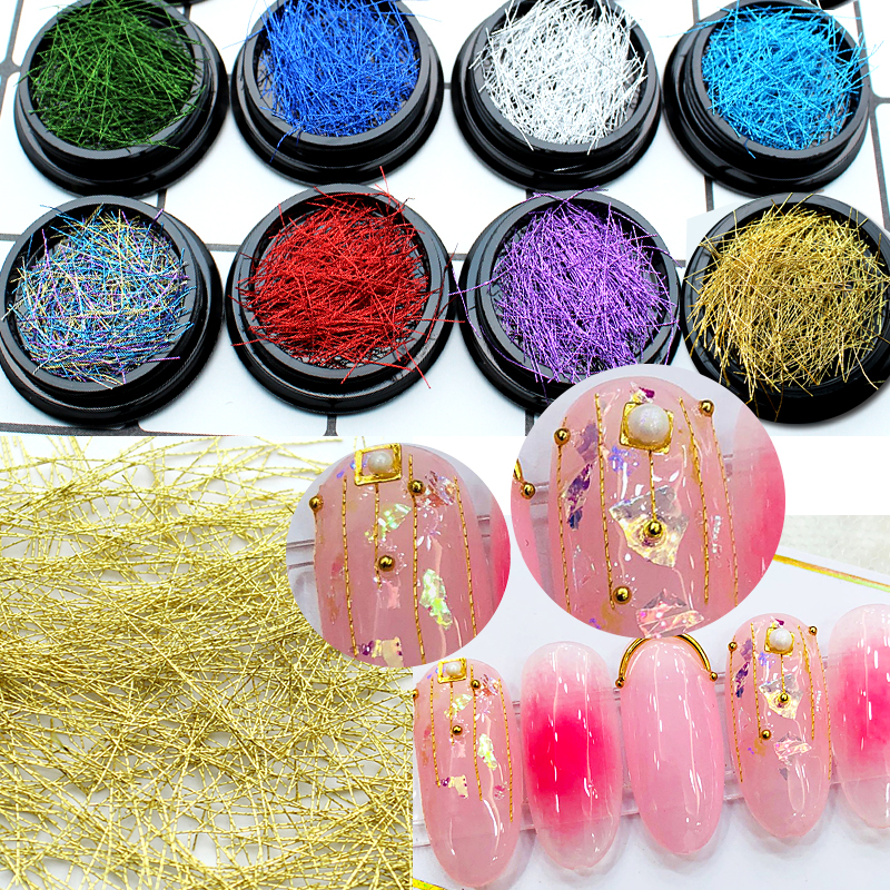 1 Box Colorful Gold Silver Grid Line Metal Alloy Nail Art Decorations Nail Stickers Tools DIY for Manicure