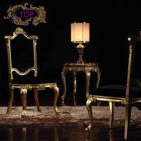 European Furniture Baroque French Dining Chair Solid Wood Carved Fabric Princess Four Chairs