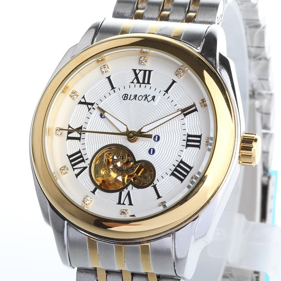 2016 NEWEST brand BIAOKA men s watch rose gold Roman numerals men s Steel Skeleton mechanical