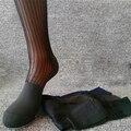 2016 hombres Calientes calcetines de seda sexy Gay Pura Calcetín calcetines Traje vestido Formal 5 colores raya retail stocking calcetines Wicking