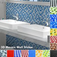 3D Swimming Pool Mosic Wall Sticker Bathroom Waterproof Self Adhesive Wallpaper Kitchen Mosaic Tile Walls Decal