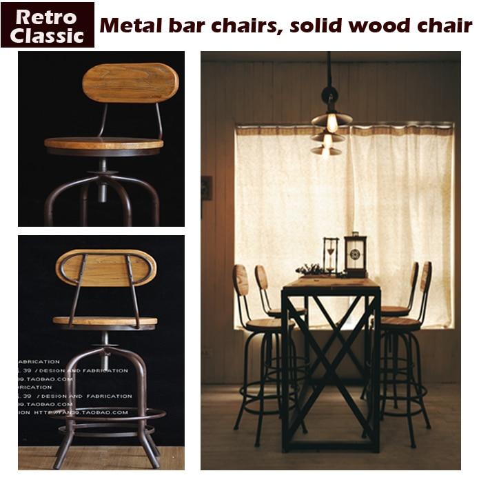Vintage metal bar chair lift 100% wooden bar stool chair anti rust  treatment wood Stool