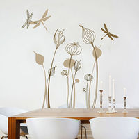 Free Shipping Flower Dragonfly Sticker Art Home Decor Wall Sticker DIY Removable Decoration Mural Decal