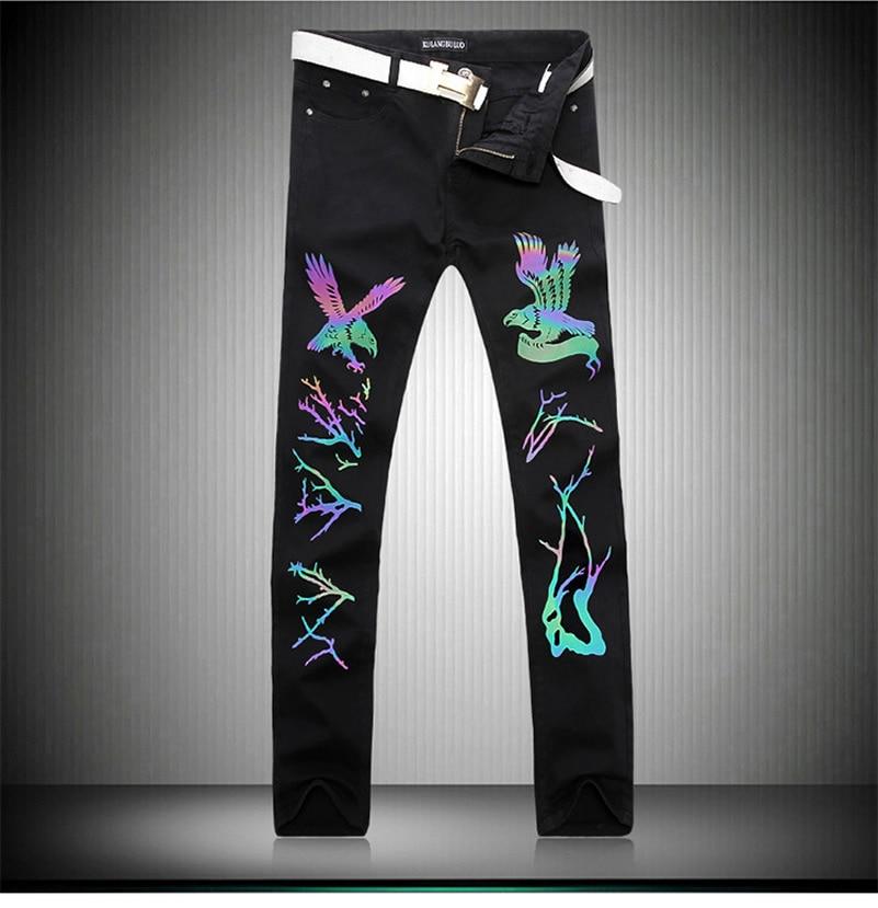 ФОТО 2017 b man new arrival  glow black animal denim jeans 1388