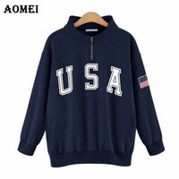 2019 Fashion Spring Hoodies for Women Zippers Long Sleeve Print Letters Casual Long Pullovers Fall Fashion Clothes Casual Tops