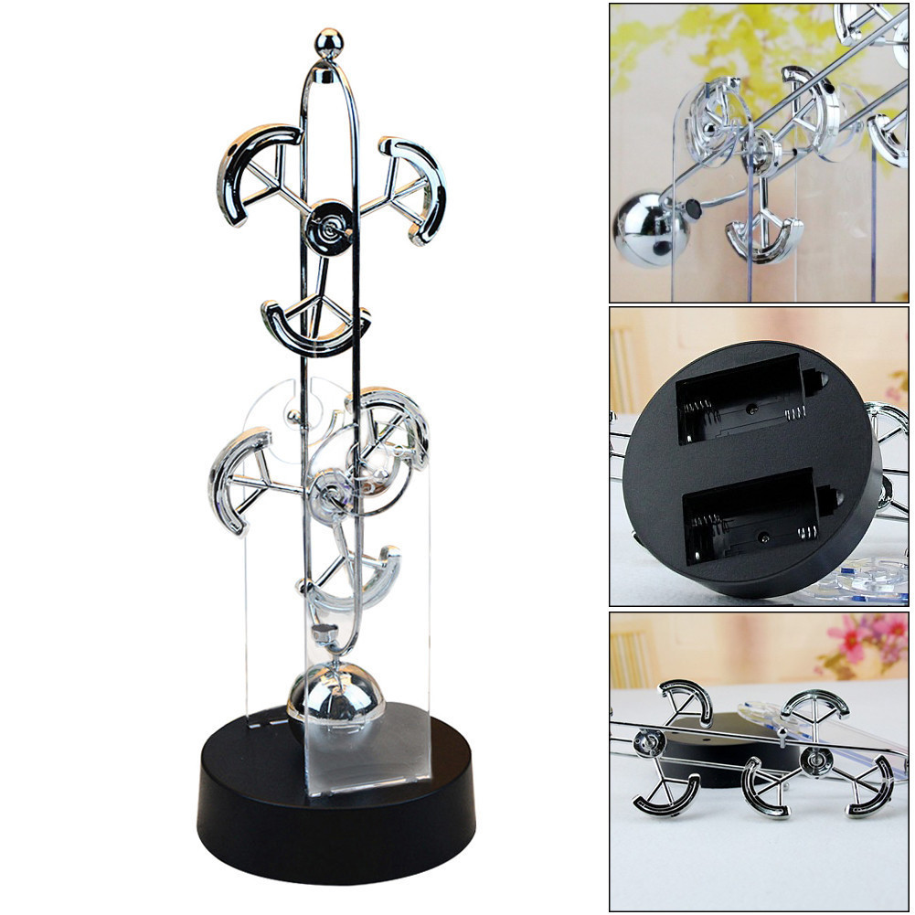 Large Electric Newton Swinger Desktop Stress Reliving Decoration Double Wheel Perpetual Motion Instrument Balance Desk Toys