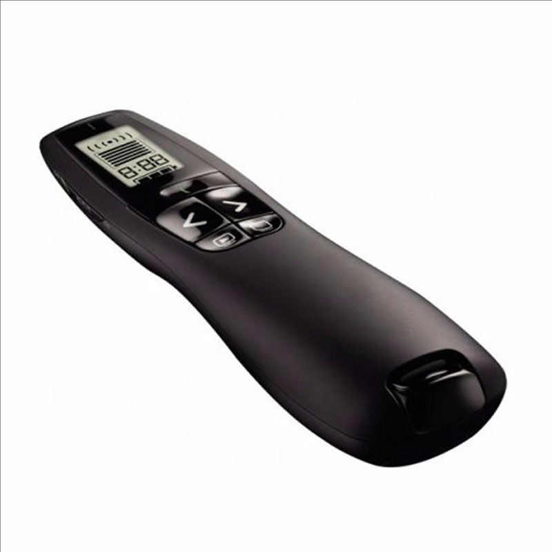 Logitech R800 מגיש מקצועי אלחוטי Powerpoint מגיש שלט רחוק עם 5 mw 532NM ירוק לייזר מצביע