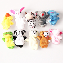 10Pcs Animal Finger Puppet Plush Toys Cartoon Biological Child Baby Favor Doll Kids Gifts Free shipping Random Color