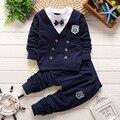 2016 Мода весна осень Джентльмен Стиль Детская Одежда Набор Ребенка мальчики Комплект Одежды Поддельные 2 шт. Мальчик Вскользь Дети устанавливает 0-4 лет