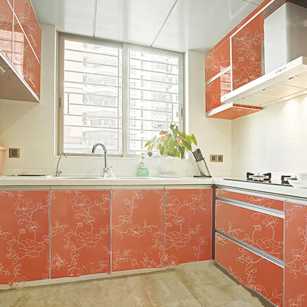 yazi Gloss Orange Peony Self adhesive Removable Wall Sticker Kitchen ...