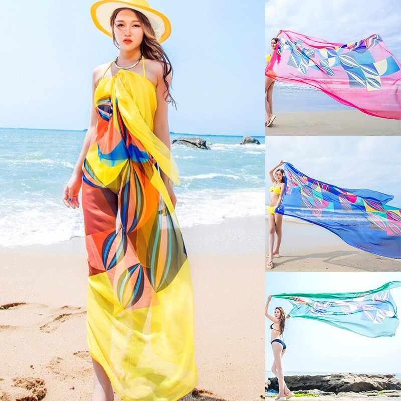 4c3243c4f49 ... 2019 New 140x190cm Pareo Scarf Women Beach Sarongs Beach Cover Up  Summer Chiffon Scarves Geometrical Design ...