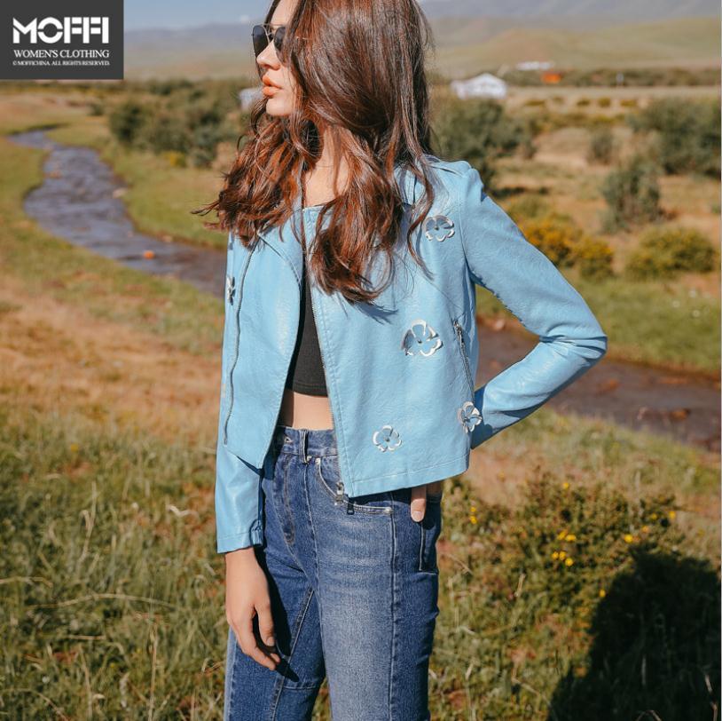 New Fashion brand Appliques stitching Basic Street style   leather   jacket Women Short zipper stitching PU   Leather   Jacket wq240