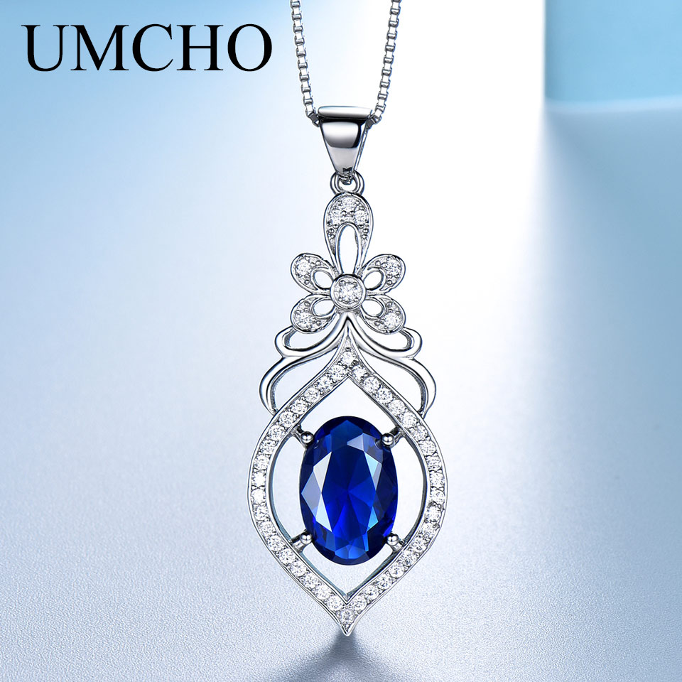 UMCHO Real 100% 925 Sterling Silver Necklace Gemstone Created Blue Sapphire Necklaces & Pendants For Women Gift With Box ChainUMCHO Real 100% 925 Sterling Silver Necklace Gemstone Created Blue Sapphire Necklaces & Pendants For Women Gift With Box Chain