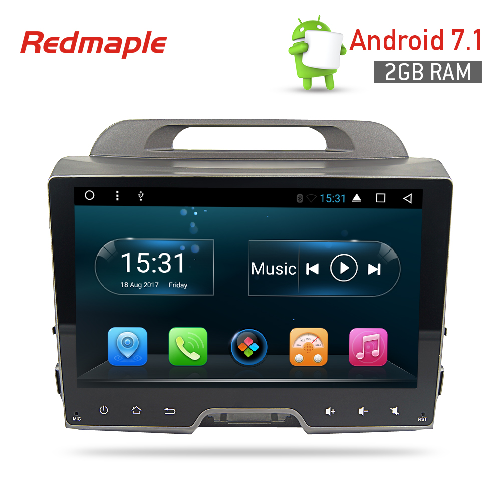 9 Android7.1 Car Radio GPS Navigation Stereo For Kia Sportage 2009-2015 Auto Multimedia Player Headunit Audio Video Quad Core