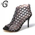 Tamaño pequeño 34 Nueva Sexy Zip Hollow Gladiador Sandalias de Las Mujeres Zapatos de Cuero Genuino Natural Verano Sansals Negro Z021