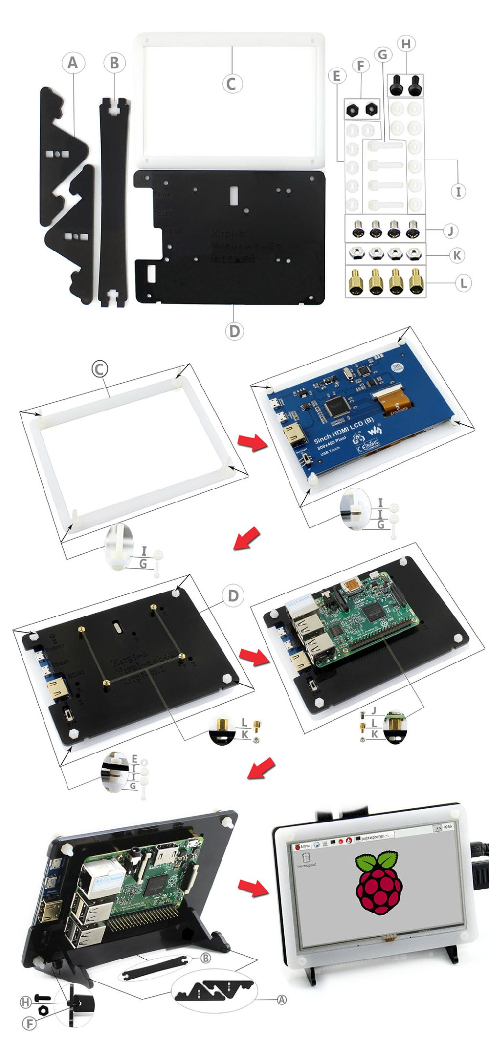 5inch-HDMI-LCD-B-Bicolor-Holder-LCD-assemble
