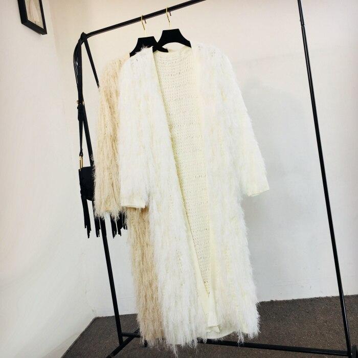 Peluche Manches Femelle Lâche En rose Nouveau Chandail Tricot Manteau Femmes gris Cardigan Outwear De blanc 2018 Longues noir Automne Beige À Gland Long Fourrure Tricots hiver PnONwm8vy0