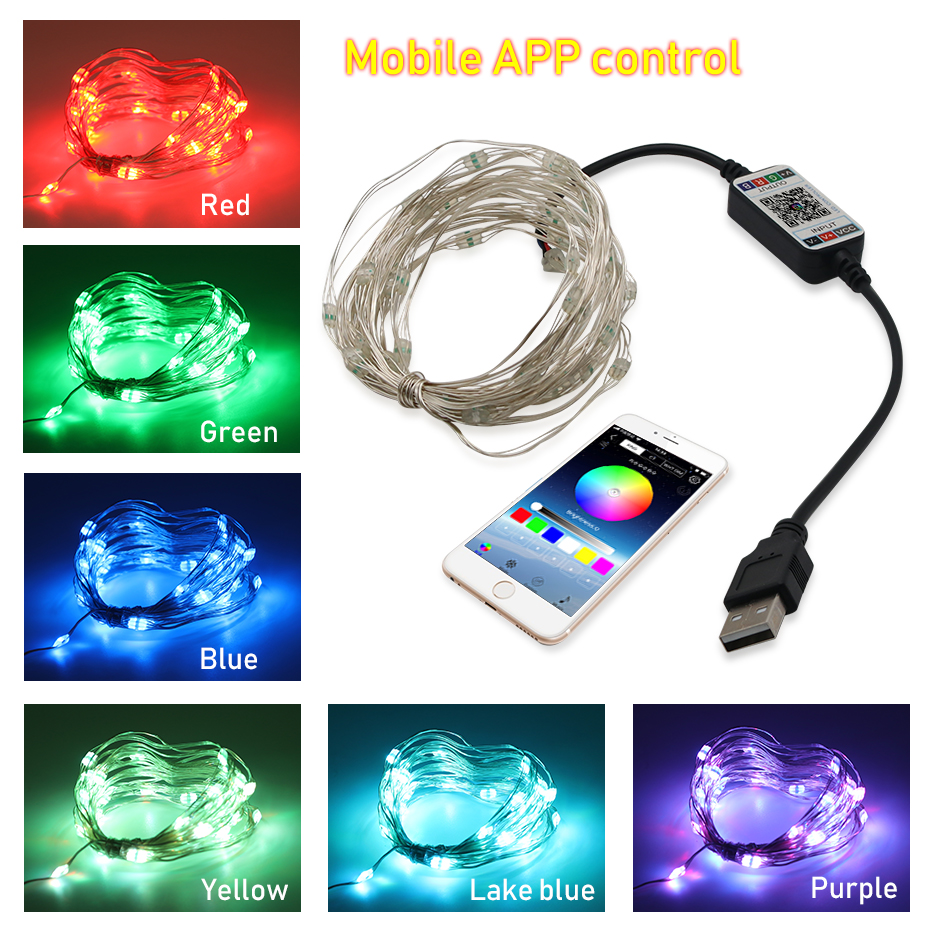 1M 2M 3M 5M 10M Waterproof LED String Light USB DC 5V RGB Wire Light Strip Outdoor Christmas Decoration LED Lights String TV 10M (2)