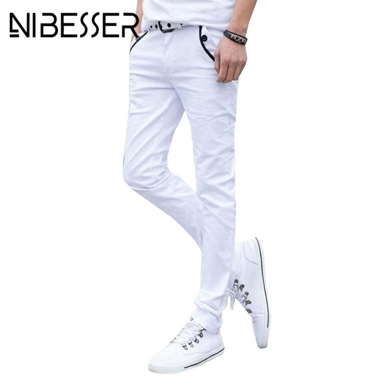 NIBESSER Pants Men Causal Streetwear Straight Elastic Long Trousers Spring Summer Mens Classic Slant Pocket Design White Pants
