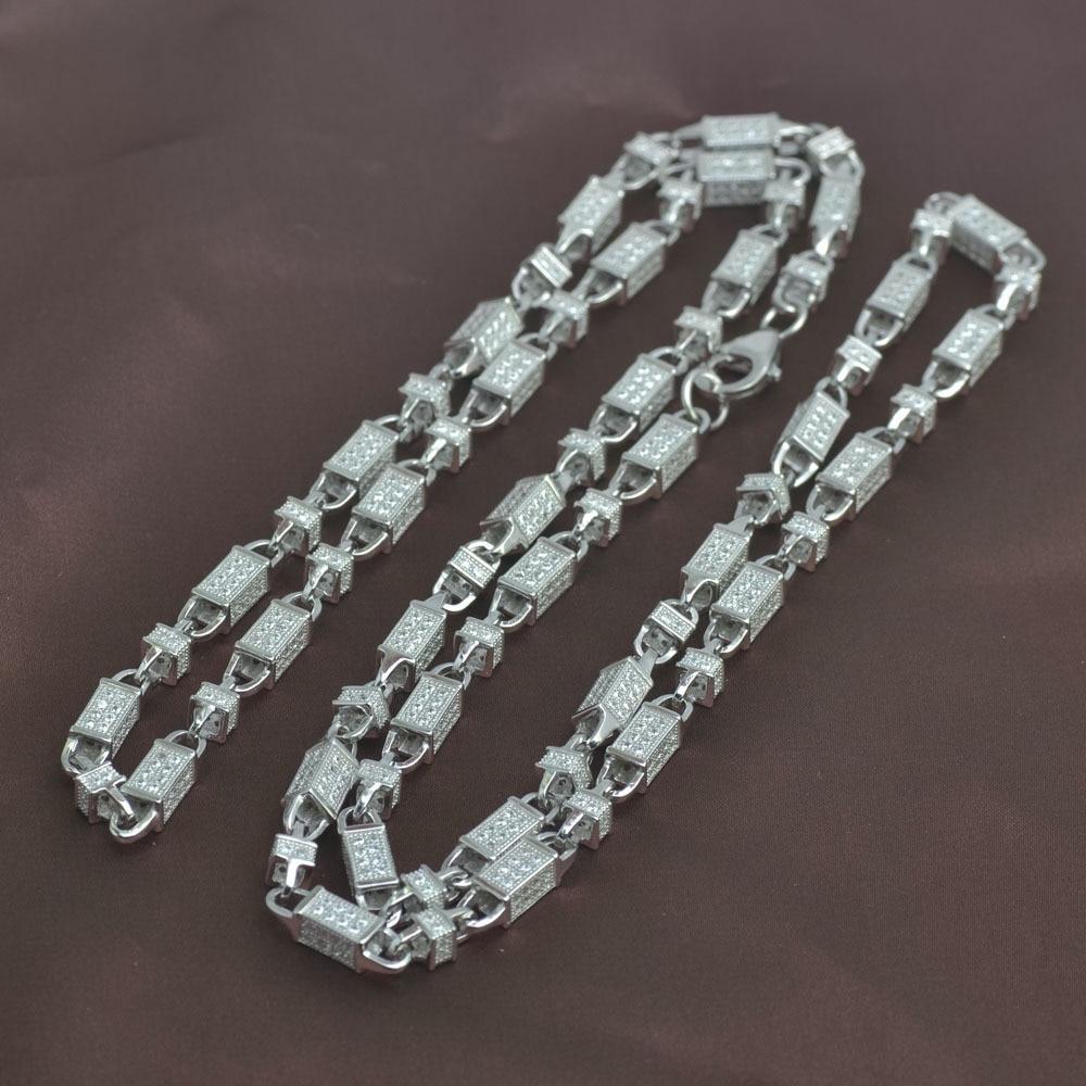 Bijoux Ice out, collier de hanche, chaîne de balle, argent sterling 925, chaîne en argent pur 925, bijoux pour hommes