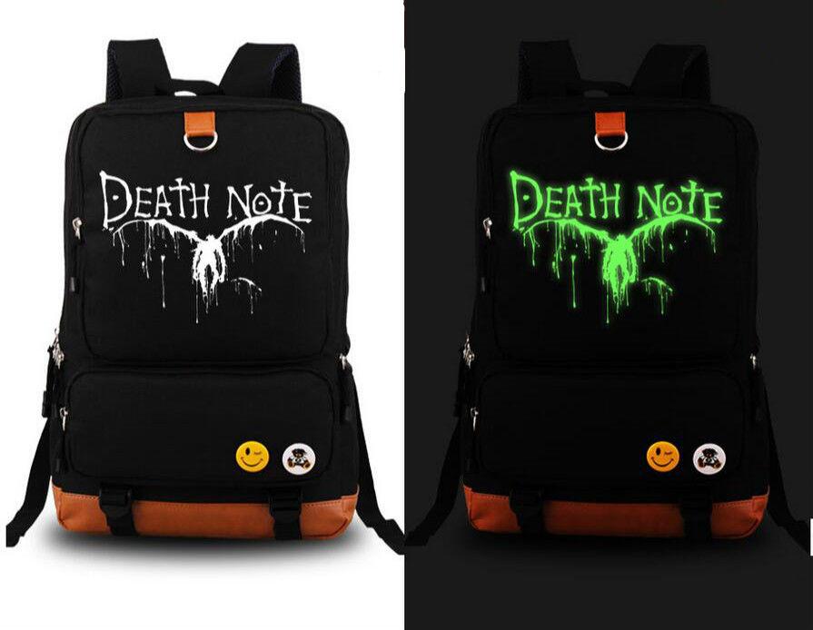 Death Note Anime School Shoulder Bag Luminous backpack black Bag New diabolik lovers anime backpack comic shoulder luminous bag new wtag