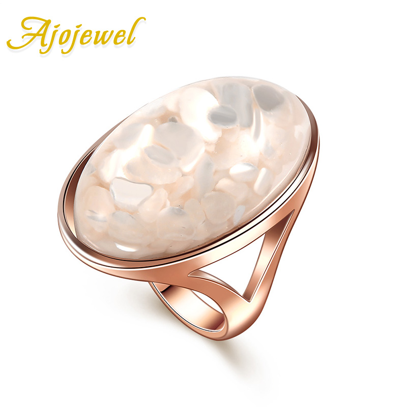 Ajojewel Size 7-11 Luxury White Shell Single Stone Մեծ մատանի տիկնայք New Anillo- ի համար