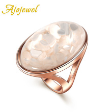 Free shipping excellent gift 2014 new unisex big size  fashion oval stone shell jewelry rings