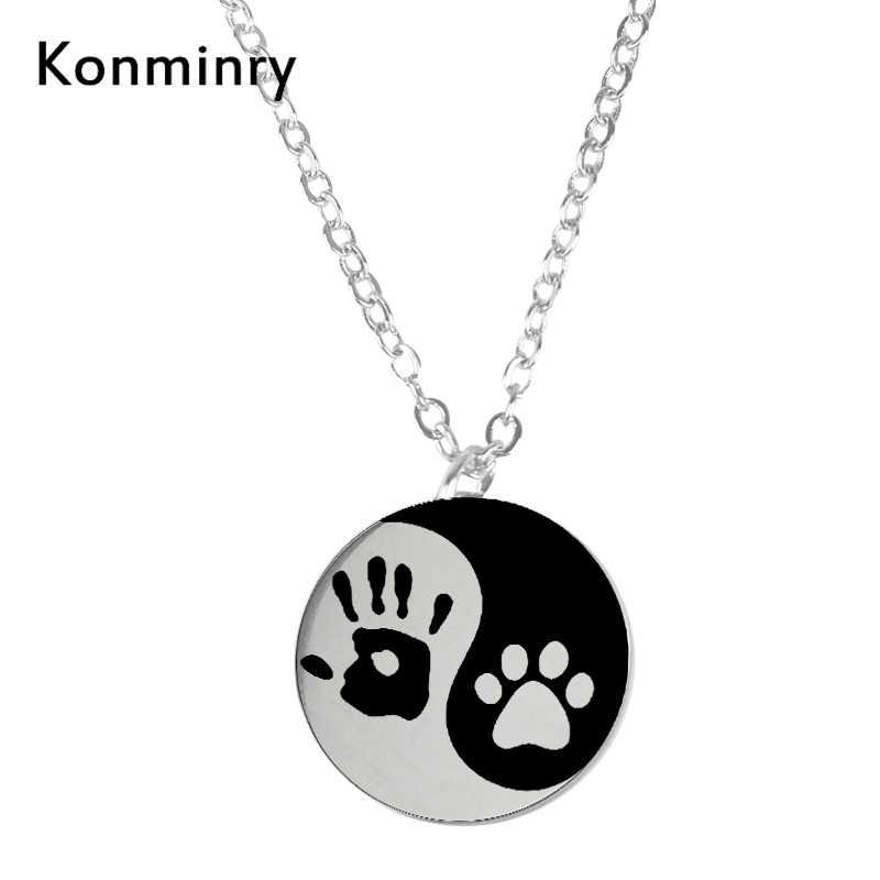 Yin dan Yang Hewan Peliharaan Kucing Anjing Paw Stainless Steel Gantungan Kunci Koin Bulat Liontin Handprint Perhiasan 2018 Baru Kedatangan Perhiasan konminry