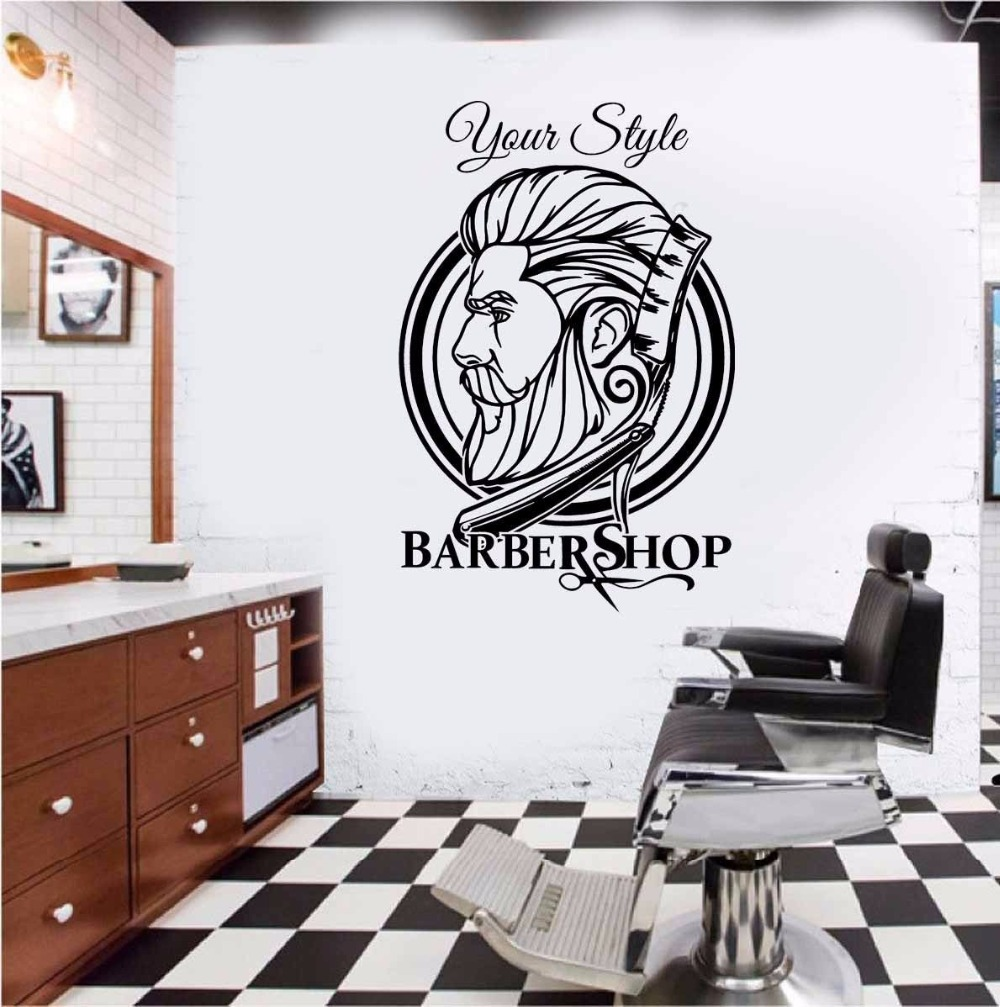 Barber Shop Hipster Wall Sticker Barber Shop Decoration ...