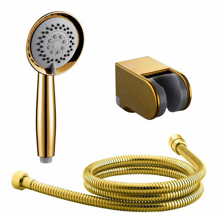 3 Function High Quality Gold Plated Hand Held Shower Head Hose and Bracket Holder Antique Gold Sprayer Multifunction Function TH
