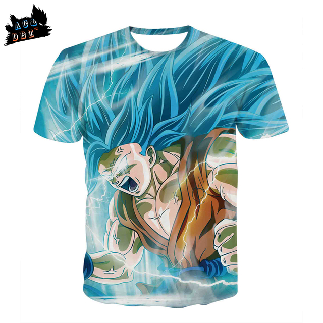 a39d97f1bd88 AC DBZ New Men s Cartoon T-shirt Blue Monkey King Super Saiyan 3D T-shirt  Men and women Fashion Short-sleeved T-shirt