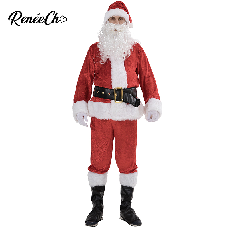 Christmas Costume For Men 2018 New Warm Santa Claus Costumes Adult new year Christmas Clothing outfit 7pcs Santa Suit