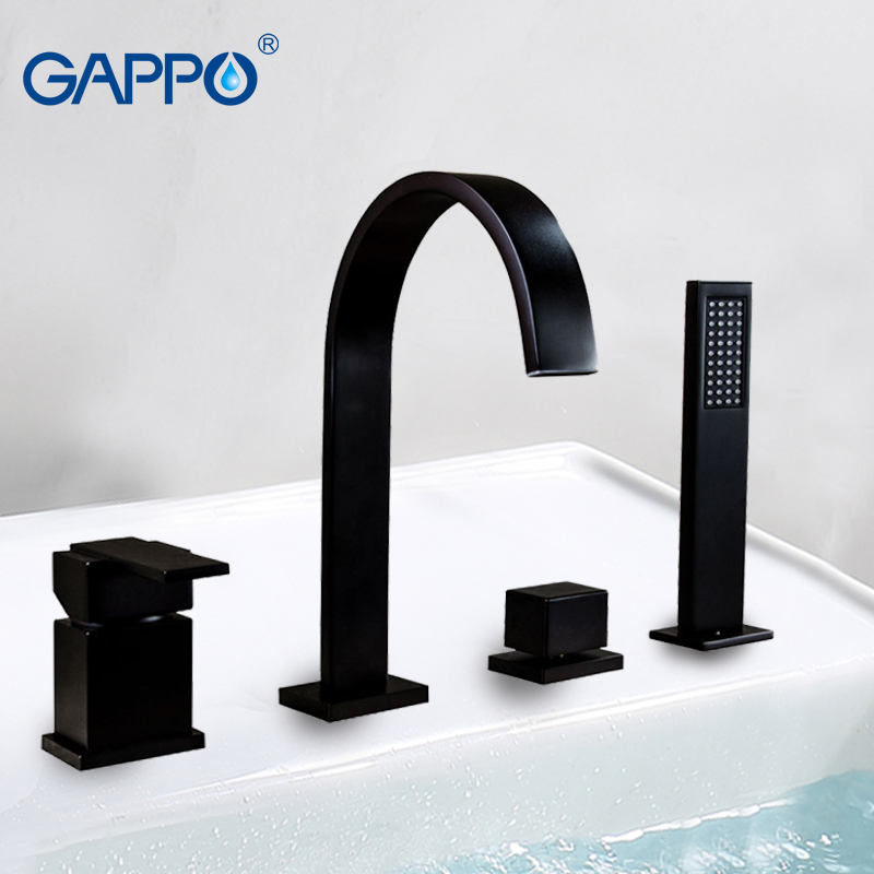 GAPPO Split bathtub faucet bathroom black brass faucet sink taps wall mounted Water mixer shower mixer tap Sanitary Ware Suite