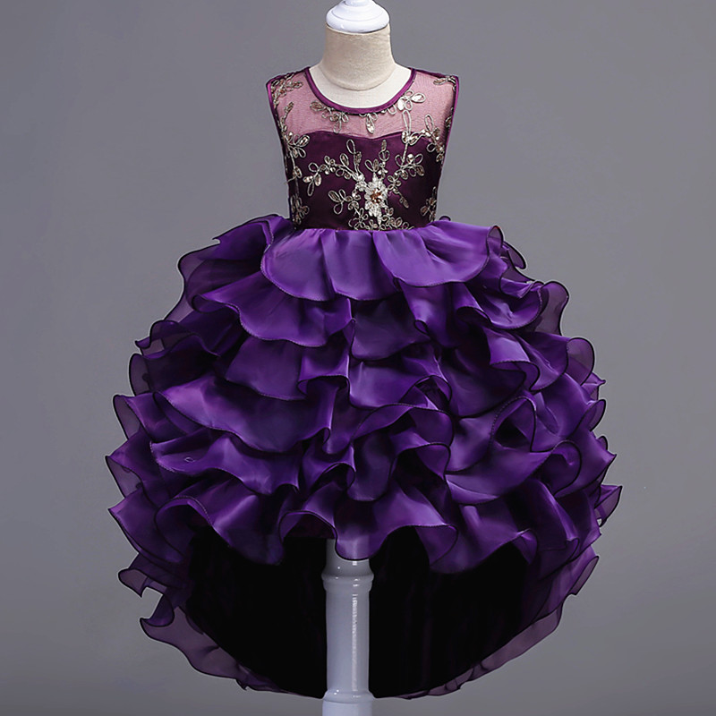 2018 autumn baby girl floral layered lace princess hi-lo tutu dress wedding gown dress girls prom party wear formal dresses layered sleeve floral top