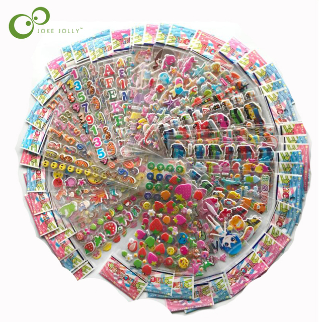 $ US $10.75 100 sheets Sticker Kids Cute 3D Cartoon Stickers Mixed School Teacher Reward Children Early Learning Toys for Children GYH